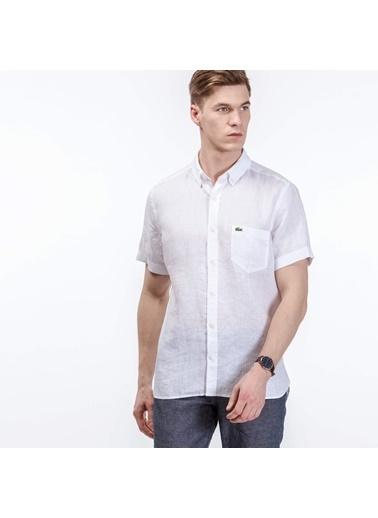 Lacoste %100 Keten Kısa Kollu Gömlek Beyaz